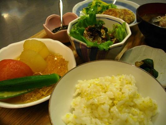 土曜日夜海藻サラダと大豆バーグ 斜めバージョン