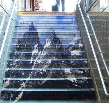 階段にアルプス