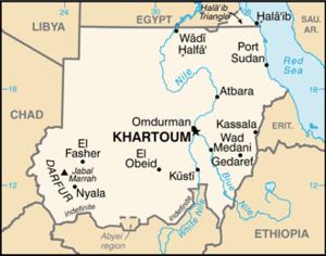 スーダン共和国の地図