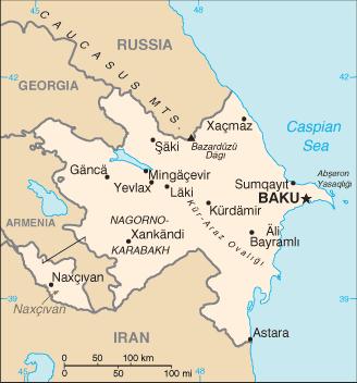 アゼルバイジャン共和国の地図