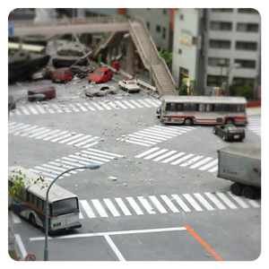 特撮博物館 ミニチュアで見る昭和平成の技・ジオラマブースの交差点