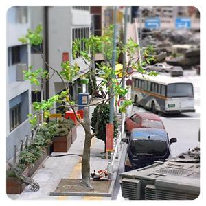 特撮博物館 ミニチュアで見る昭和平成の技・ジオラマブースの街路樹