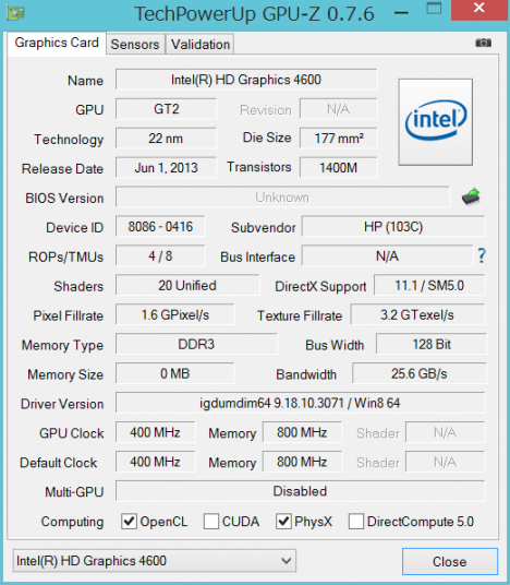 TS15 GPUZ_インテルHD4600