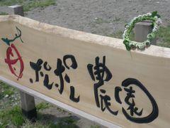 [写真]ポレポレ農園の看板に飾られ<br />たシロツメクサの花冠