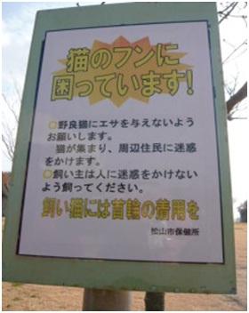 愛媛県松山総合公園とは?虐待をあおる看板が数々!石を投げられ死んだ白猫や両耳をそがれた猫がいます008
